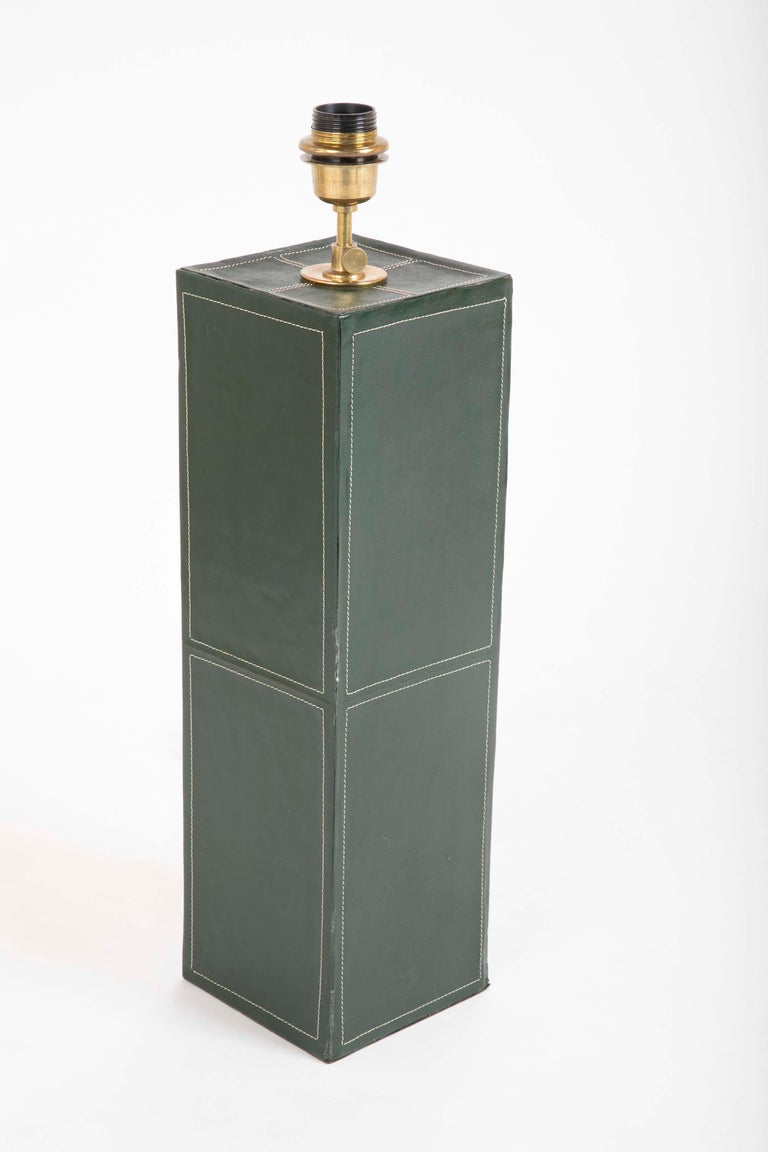 Pair of Leather Covered Lamps in the Manner of Jacques Adnet For Sale 1