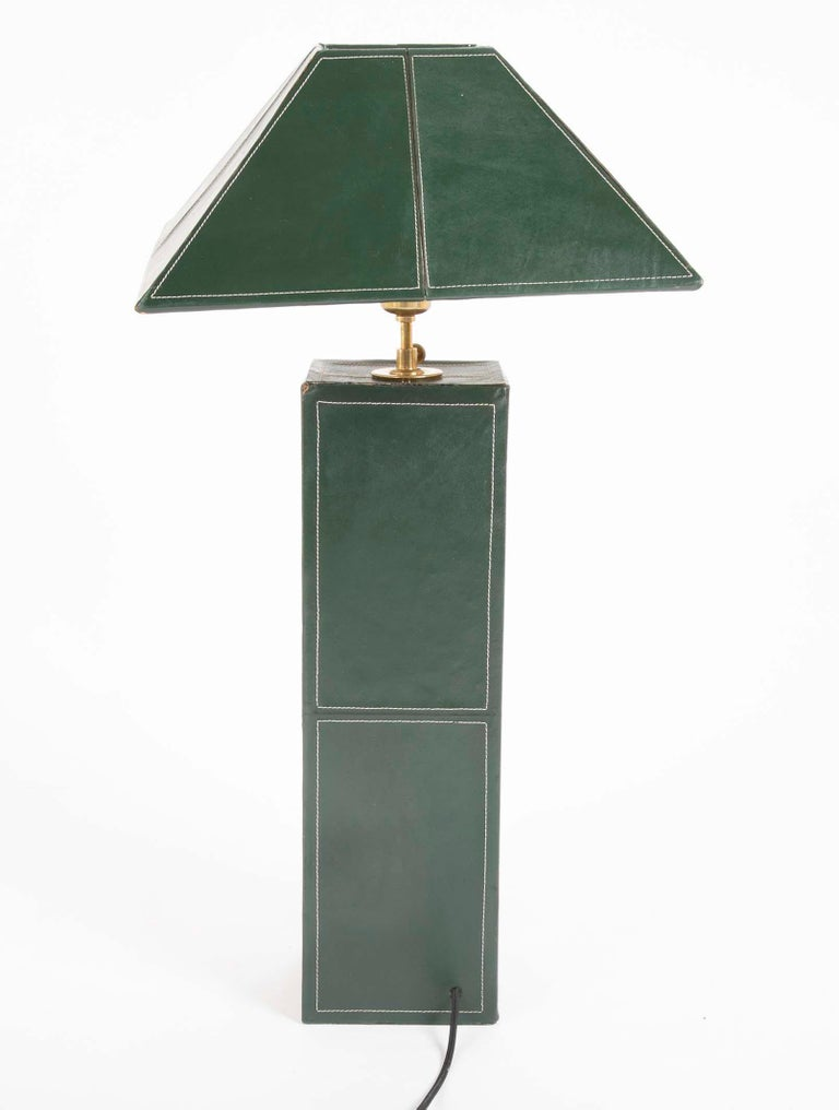 Pair of Leather Covered Lamps in the Manner of Jacques Adnet For Sale 3