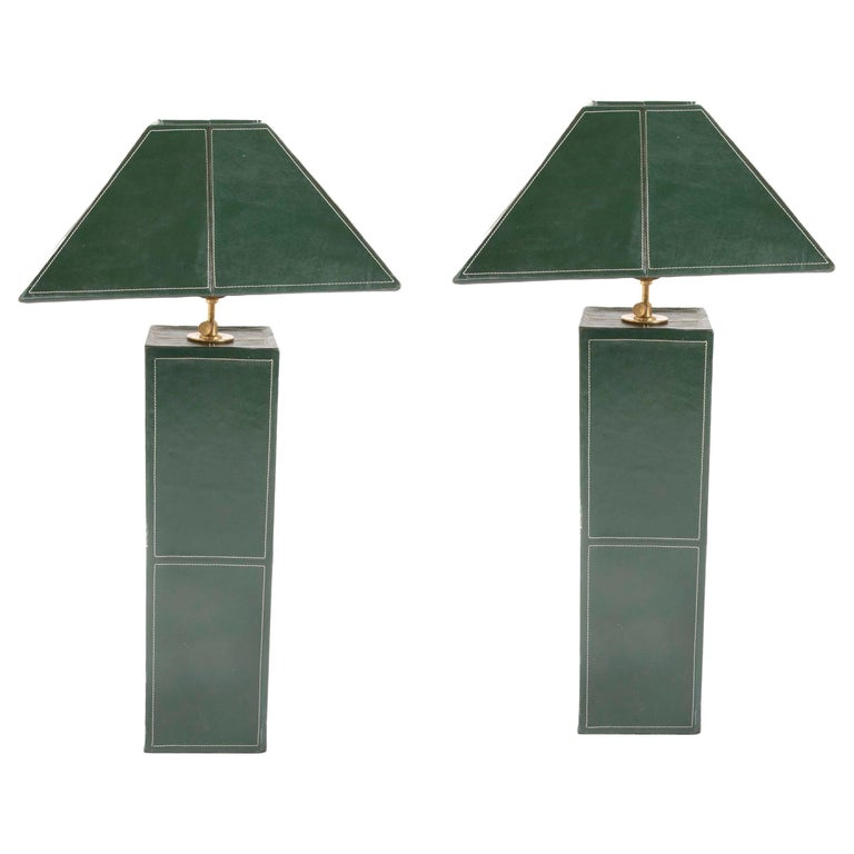 Pair of Leather Covered Lamps in the Manner of Jacques Adnet For Sale