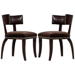Pair of Leather Curved Back Side Chairs