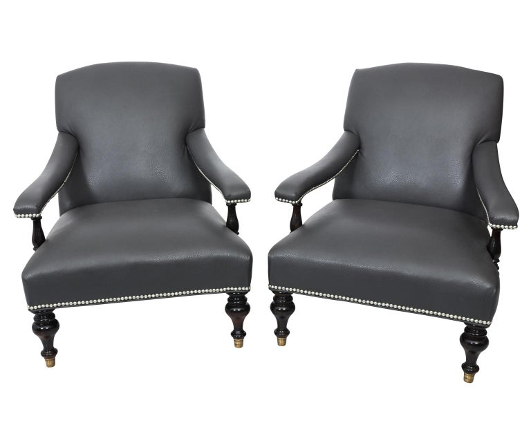 Tremendous Pair Of Leather English Reading Chairs Caraccident5 Cool Chair Designs And Ideas Caraccident5Info