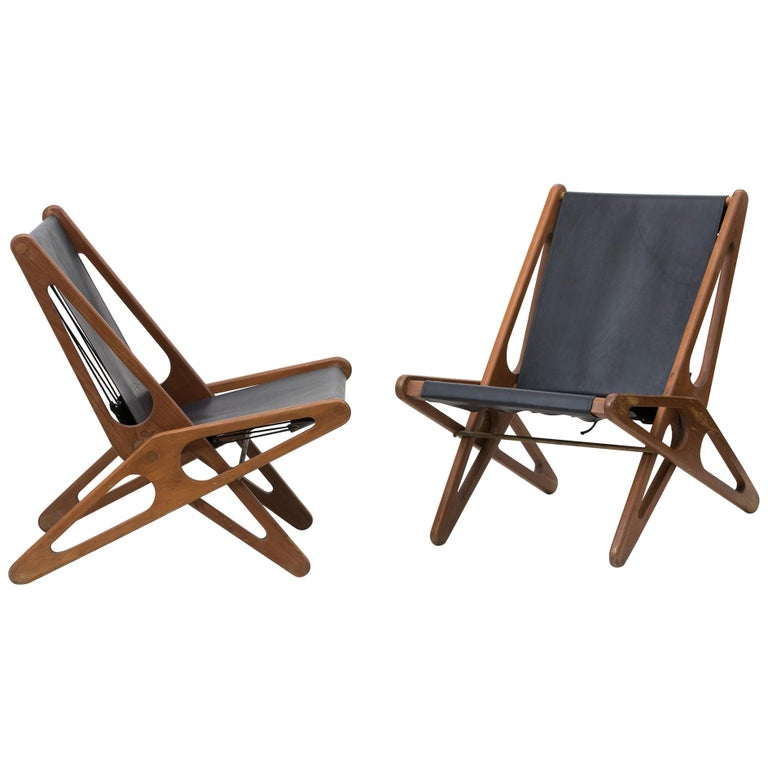 Pair Of Leather Folding Chairs By Ficks Reed