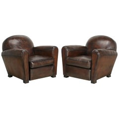 Pair of Leather French Club Chairs Completely Restored, Original Leather