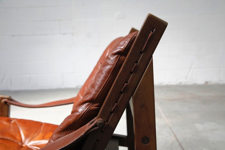 Pair of Leather 'Hunter' Safari Chairs by Torbjørn Afdal for Bruksbo, 1960s For Sale 4
