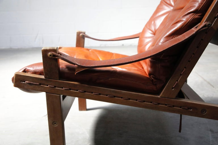 Pair of Leather 'Hunter' Safari Chairs by Torbjørn Afdal for Bruksbo, 1960s For Sale 5