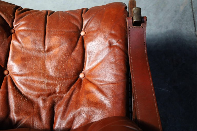 Pair of Leather 'Hunter' Safari Chairs by Torbjørn Afdal for Bruksbo, 1960s For Sale 6
