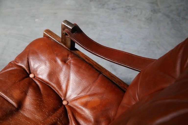Pair of Leather 'Hunter' Safari Chairs by Torbjørn Afdal for Bruksbo, 1960s For Sale 7