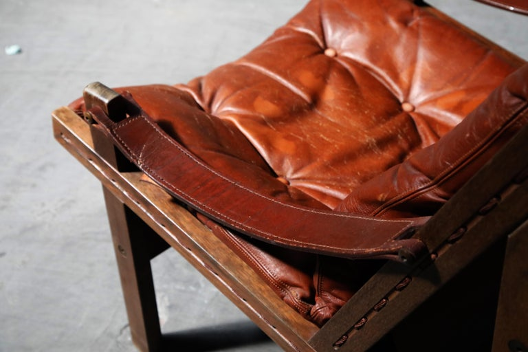 Pair of Leather 'Hunter' Safari Chairs by Torbjørn Afdal for Bruksbo, 1960s For Sale 8