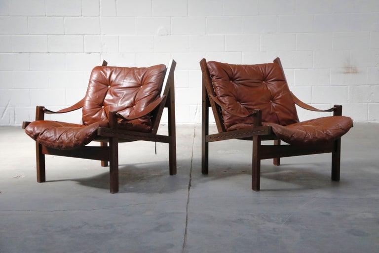 Scandinavian Modern Pair of Leather 'Hunter' Safari Chairs by Torbjørn Afdal for Bruksbo, 1960s For Sale