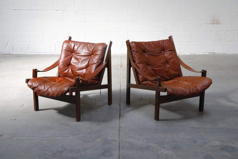 Swedish Pair of Leather 'Hunter' Safari Chairs by Torbjørn Afdal for Bruksbo, 1960s For Sale