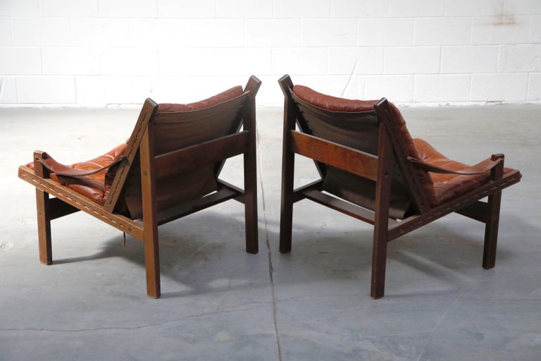 Pair of Leather 'Hunter' Safari Chairs by Torbjørn Afdal for Bruksbo, 1960s For Sale 1