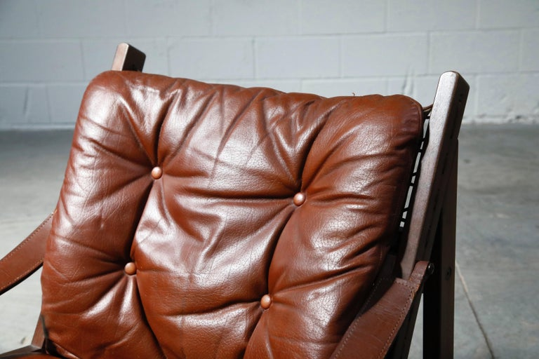Pair of Leather 'Hunter' Safari Chairs by Torbjørn Afdal for Bruksbo, 1960s For Sale 2