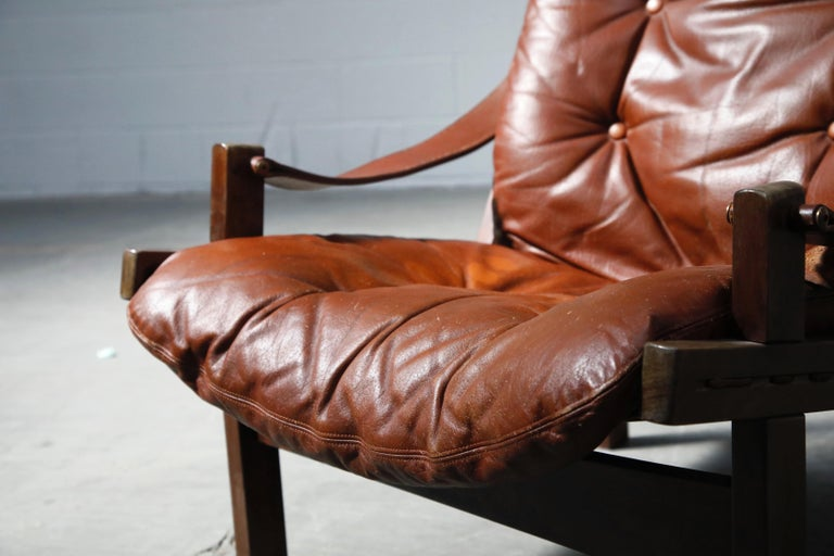 Pair of Leather 'Hunter' Safari Chairs by Torbjørn Afdal for Bruksbo, 1960s For Sale 3