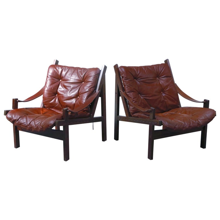 Pair of Leather 'Hunter' Safari Chairs by Torbjørn Afdal for Bruksbo, 1960s For Sale