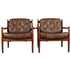 Pair of Leather Ingemar Thillmark  'Lacko' Armchairs
