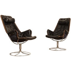 Pair of Leather Jetson Chairs by Bruno Mathsson for DUX, Sweden, 1960s-1970s