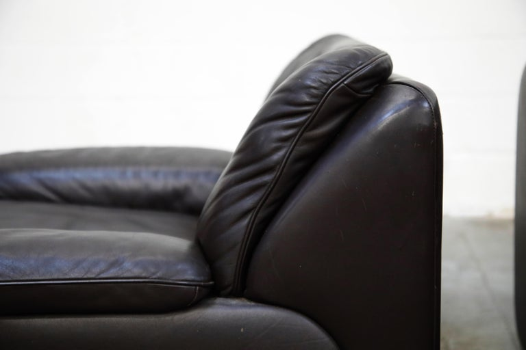Pair of Leather Lounge Armchairs by De Sede, Switzerland, 1960s, Signed For Sale 6