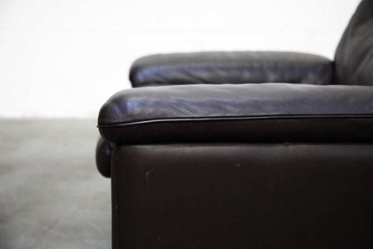 Pair of Leather Lounge Armchairs by De Sede, Switzerland, 1960s, Signed For Sale 7