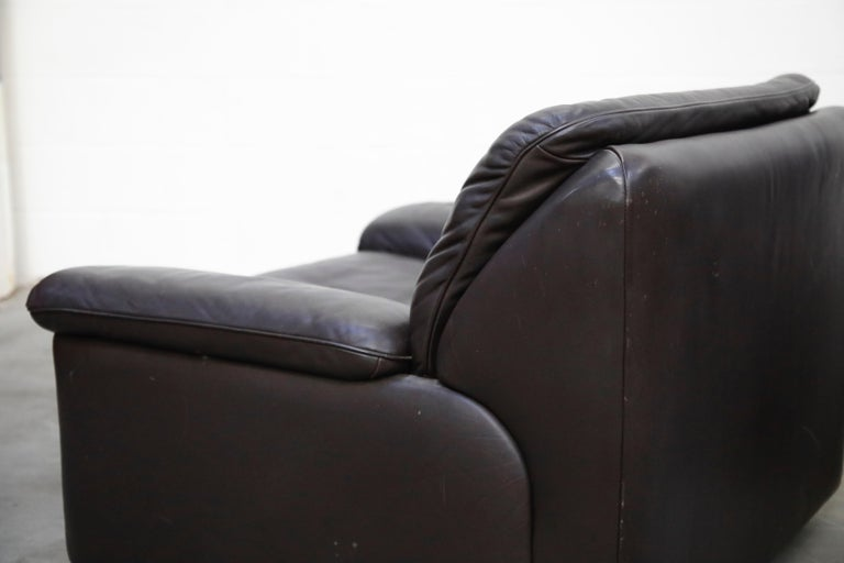 Pair of Leather Lounge Armchairs by De Sede, Switzerland, 1960s, Signed For Sale 8