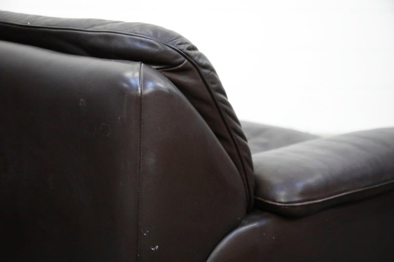 Pair of Leather Lounge Armchairs by De Sede, Switzerland, 1960s, Signed For Sale 9