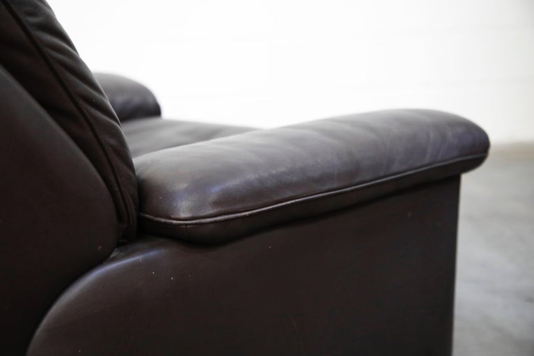 Pair of Leather Lounge Armchairs by De Sede, Switzerland, 1960s, Signed For Sale 10