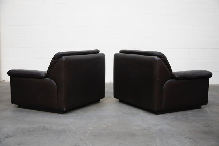 Pair of Leather Lounge Armchairs by De Sede, Switzerland, 1960s, Signed For Sale 1