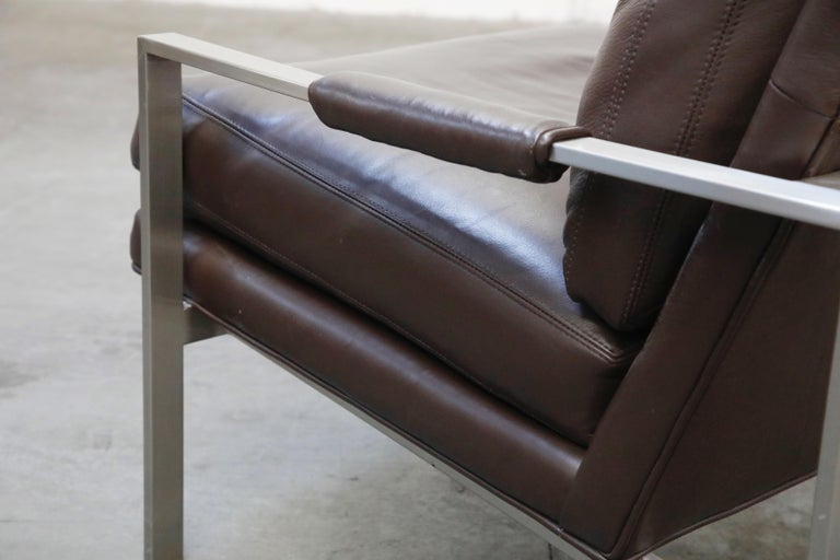 Pair of Leather Lounge Armchairs by Milo Baughman for Thayer Coggin, Signed For Sale 8