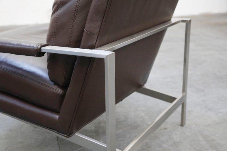 Pair of Leather Lounge Armchairs by Milo Baughman for Thayer Coggin, Signed For Sale 9