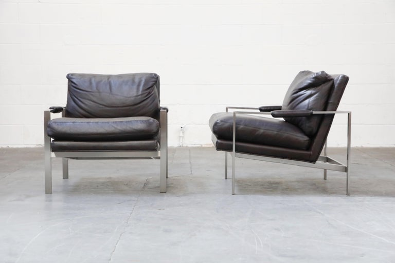 American Pair of Leather Lounge Armchairs by Milo Baughman for Thayer Coggin, Signed For Sale