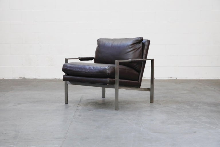 Pair of Leather Lounge Armchairs by Milo Baughman for Thayer Coggin, Signed In Good Condition For Sale In Los Angeles, CA