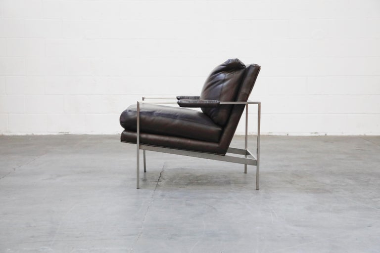 Contemporary Pair of Leather Lounge Armchairs by Milo Baughman for Thayer Coggin, Signed For Sale