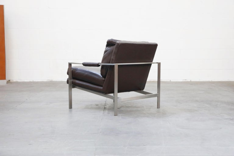 Pair of Leather Lounge Armchairs by Milo Baughman for Thayer Coggin, Signed For Sale 1