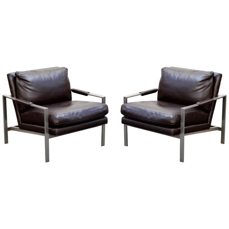 Pair of Leather Lounge Armchairs by Milo Baughman for Thayer Coggin, Signed For Sale