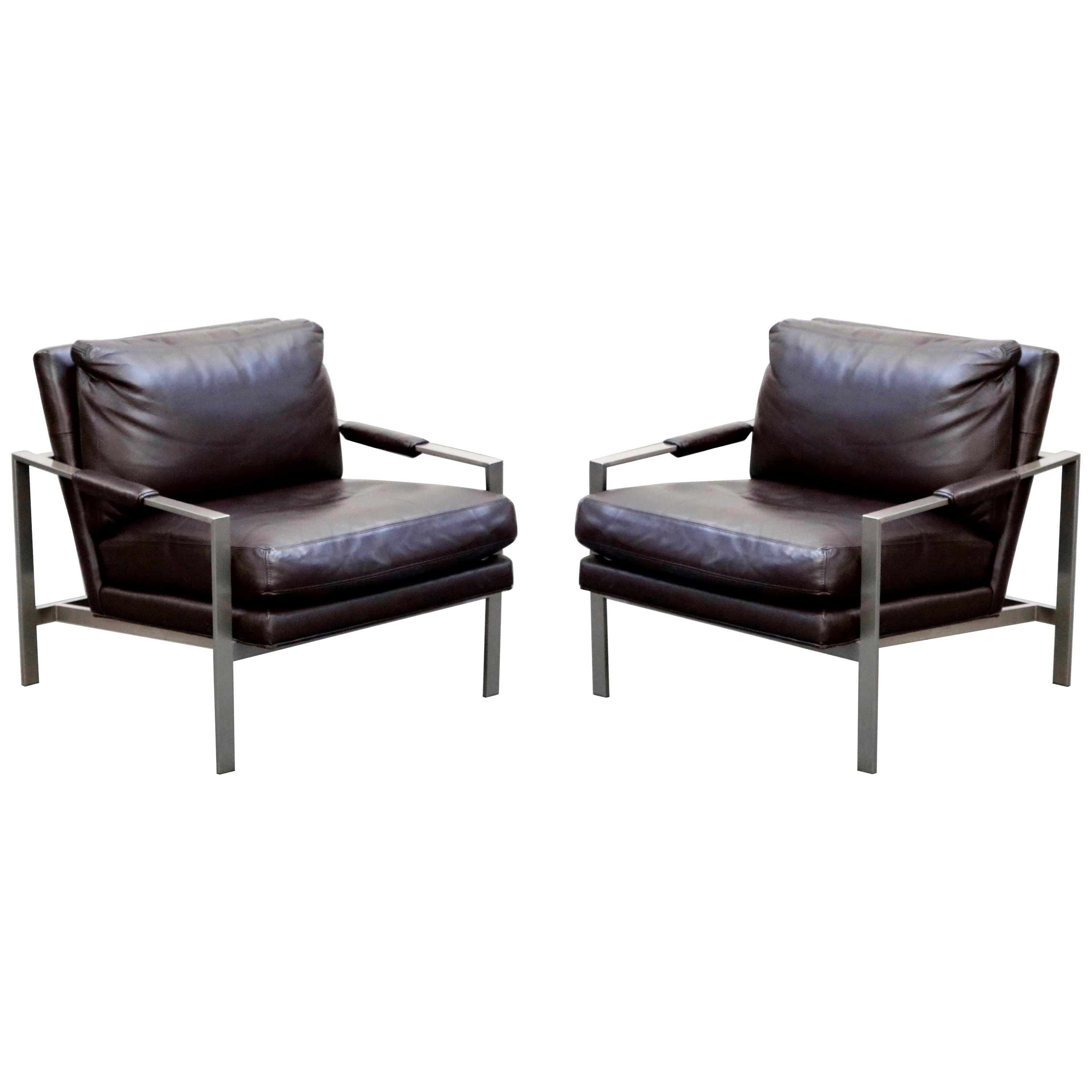 Pair of Leather Lounge Armchairs by Milo Baughman for Thayer Coggin, Signed