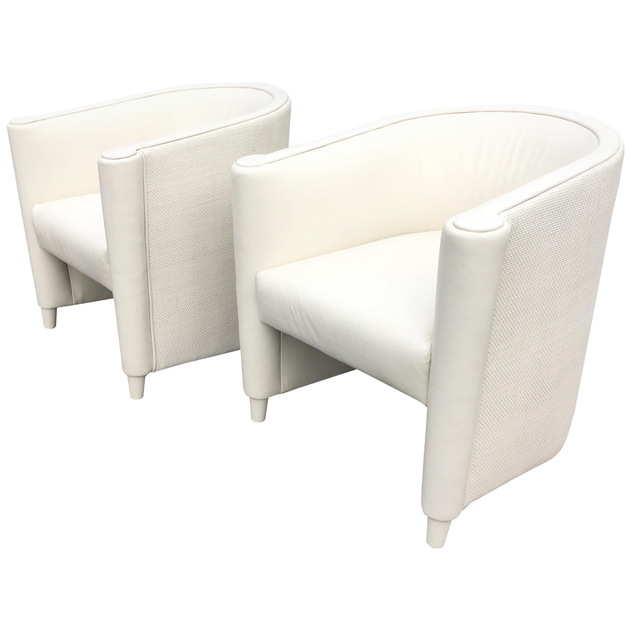 Pair of Leather Lounge Chairs, Art Deco Style, Cream Color