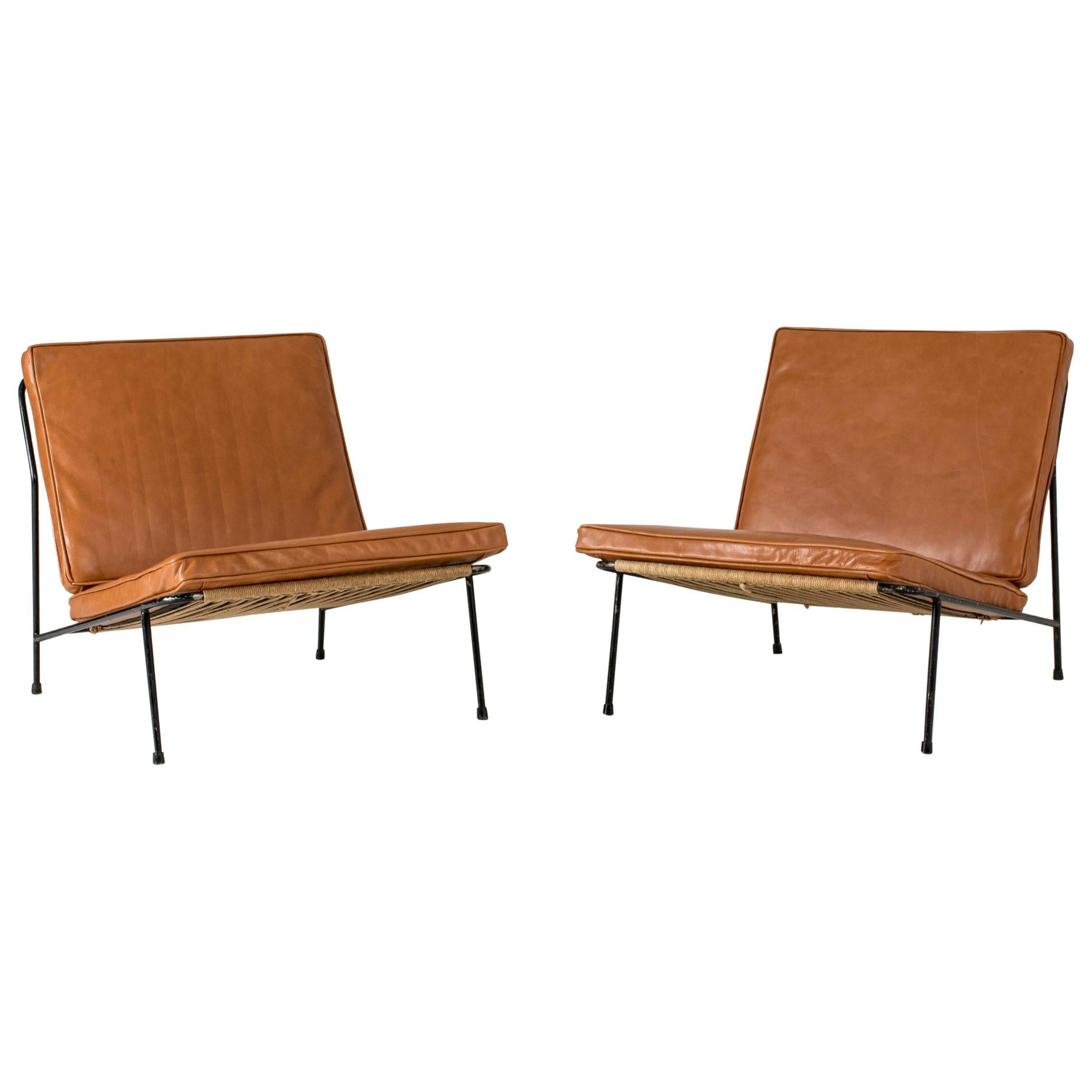 Pair of Leather Lounge Chairs by Alf Svensson