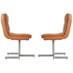 Pair of Leather and Steel Lounge Chairs by Raphael, France, circa 1970