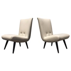 Pair of Leather Lounge Chairs in the Style of Jens Risom