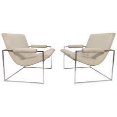Pair of Leather Milo Baughman Scoop Lounge Chairs for Thayer Coggin