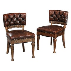 Pair of Leather Oak Chairs by Thorvald Bindesbøll