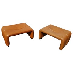 Pair of Leather Ottoman by Afra & Tobia Scarpa for B&B Italia