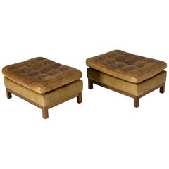 Pair of Leather Ottomans by Arne Norell