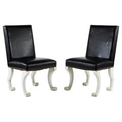 Pair of Leather Paw-Foot Chairs