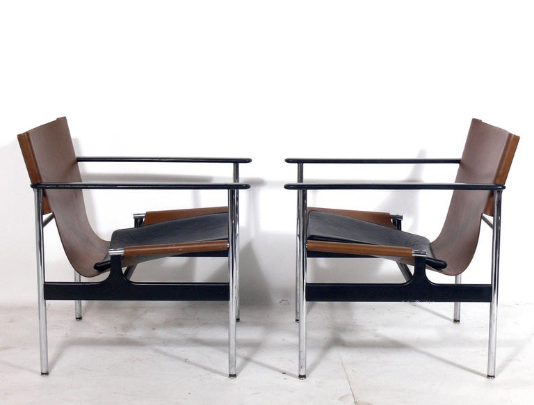 Mid-Century Modern Pair of Leather Sling Lounge Chairs by Charles Pollock for Knoll