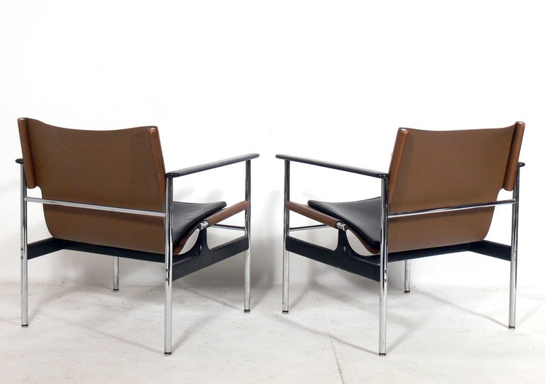 American Pair of Leather Sling Lounge Chairs by Charles Pollock for Knoll