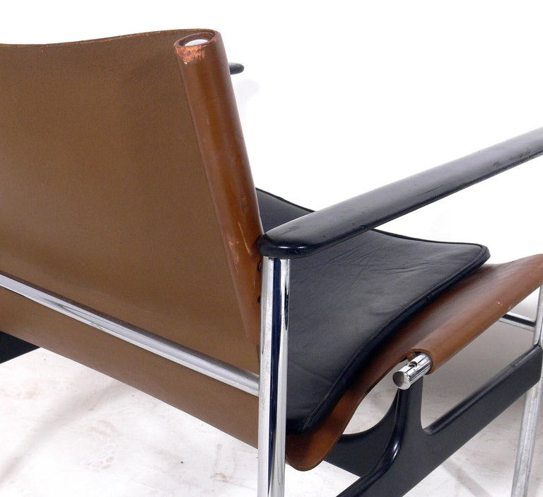 Enameled Pair of Leather Sling Lounge Chairs by Charles Pollock for Knoll
