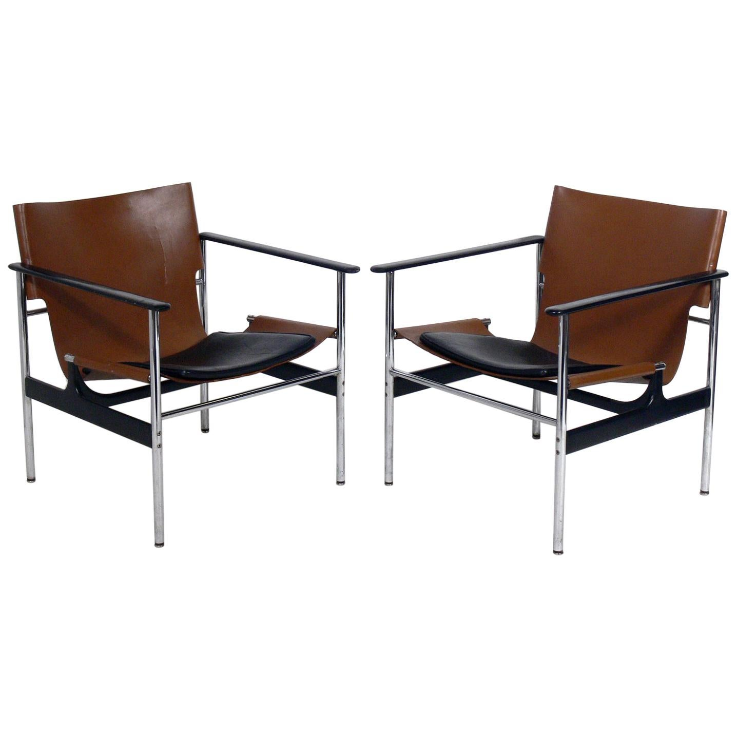 Pair of Leather Sling Lounge Chairs by Charles Pollock for Knoll