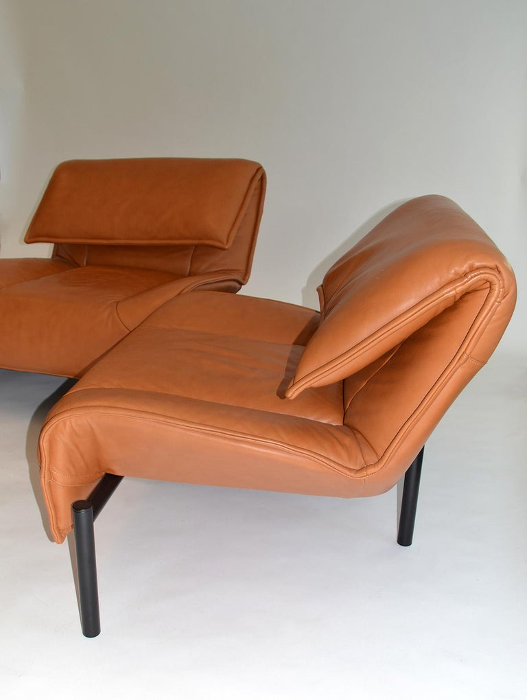 Italian Pair of Leather Sofas or Couches by Vico Magistretti for Cassina, Italy, 1980's For Sale