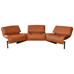 Pair of Leather Sofas or Couches by Vico Magistretti for Cassina, Italy, 1980's