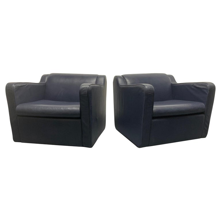 Pair of Leather 'Speed' Lounge Chairs For Sale